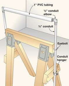 Wooden sawhorses can serve double-duty as adjustable outfeed supports.