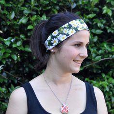 Daisy print headband daisy print sweatband  activewear