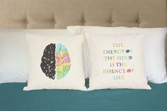 Left and Right Brain Pillows with Aristotle quote