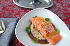 Lacquered Steelhead Trout with Roasted Cauliflower Puree Cauliflower Puree, Roasted Cauliflower, Trout, Meatloaf, Lasagna, Ethnic Recipes, Food, Brown Trout, Essen