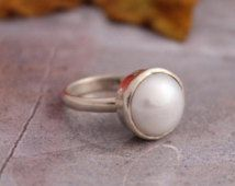 ON SALE Pearl Ring - Sterling silver ring - Birthstone ring - Handmade - Bezel ring - Classic ring - Gift for her