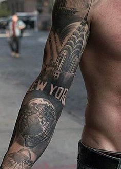 tatuajes de ciudades en el brazo para hombres
