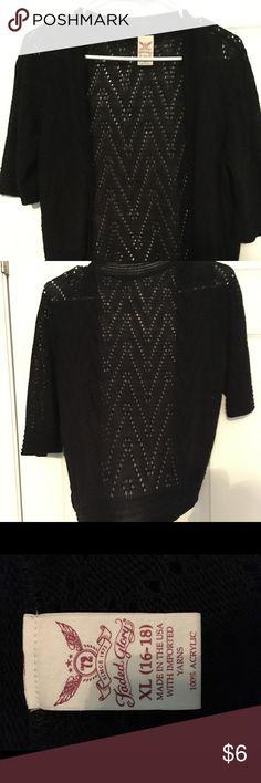 Black crochet cropped shrug Faded Glory black crochet cropped cardigan (falls at waist) NWOT Faded Glory Sweaters Shrugs & Ponchos