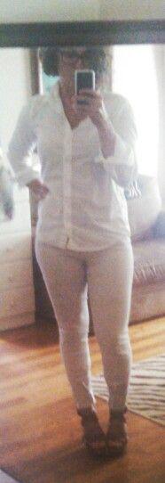 8/4/14--White button up shirt, tan striped pants, brown sandals.