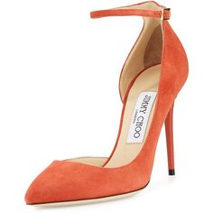 Jimmy Choo Lucy Half-dOrsay Suede Pump ($740) ❤ liked on Polyvore featuring shoes, pumps, heels, coral, suede pointed toe pumps, high heel pumps, heels  pumps, strappy pumps and suede pumps