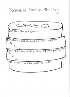 Opinion Writing - Oreo (O-state your opinion, R-give reasons, E-give examples for reasons, O-restate your opinion) by olive Cool Writing, Kids Writing, Teaching Writing, Teaching Science, Writing Activities, Writing Help, Writing Ideas, Opinion Writing, Persuasive Writing