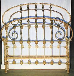 Beautifully designed Iron & Brass bed frame. Larger than normal size tubing, French Curve...... all the bells and whistles. circa 1855   #ironbeds #antiqueironbeds