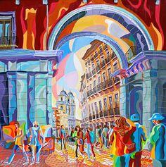 Calle Toledo (Madrid) - Francisco Herrero. Óleo sobre lienzo. 80x80x3,5 cm.