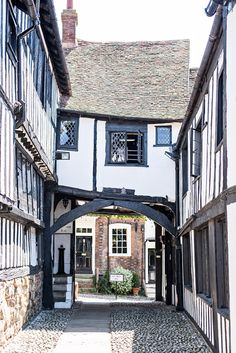 The picture perfect streets of Rye, England. The Mermaid Inn.