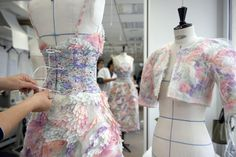 Constructing Chanel's haute couture collection at the atelier. Spring 2014 outfit by Maison Lemarié.
