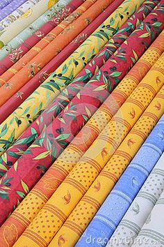 Traditional Provencal patterns on rolls of cotton at a local market