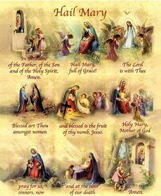 Hail Mary in pictures Catholic Kids, Catholic Prayers, Faith Prayer, My Prayer, Prayer Board, Prayers To Mary, Miracle Prayer, Catholic Religion, Catholic Theology