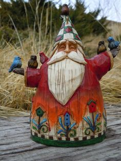 """Jim Shore Older Version of """"Home to Roost for the Holidays"""" Santa with Bluebirds"""