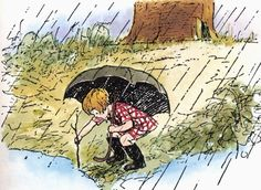 Christopher Robin playing in the rain