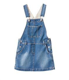 Petit Bateau- France  Print Lining :)    Robe salopette fille en jean délavé
