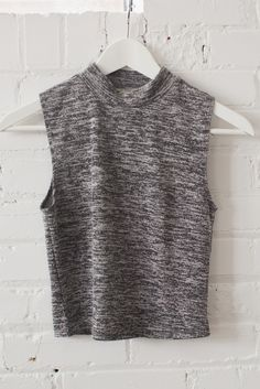 Marled Mock Neck Crop Top // www.shoplovestreet.com