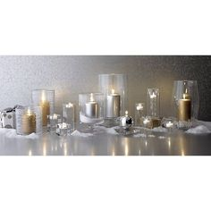 London Large Clear Hurricane in Candleholders | Crate and Barrel