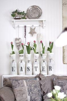 Ostern Dekoration Wohnzimmer Ideen-Bastelzeit Papier schmuck
