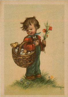 Artist Signed Mariapia Boy Basket of Eggs Chicks Hatching Vintage Postcard | eBay