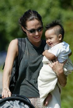 Angelina Jolie and her eldest son Maddox in 2002. both so lucky in each other