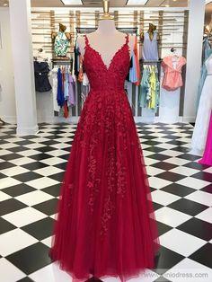 Rose Red Lace Long Prom Dresses Spaghetti Strap Formal Dress FD1348 – Viniodress