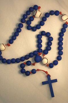 Blue Baseball Rosary by MommasHeartRosaries on Etsy, $30.00