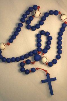 Blue Baseball Rosary by MommasHeartRosaries on Etsy, $30.00