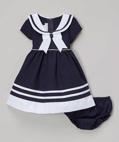 Look what I found on #zulily! Navy & White Nautical Bow Dress - Infant & Toddler #zulilyfinds