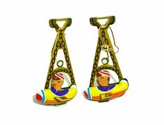 Airplane earrings ... jewelry Yellow tin freak by WeepingGrove