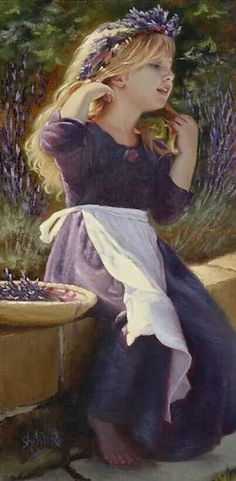 Flowers In My Hair by Sheri Dinardi Oil ~ 16 x 8 ~Oh Sweet Lavender~ Kind Photo, Lavender Cottage, Lavender Fields, Provence Lavender, Foto Art, Beautiful Children, Beautiful Paintings, Flowers In Hair, Diy Art