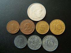Coin: ($17.99) Set Of Third Reich 8 Coins - 2 Reichsmark 1 2 5 10 Pfennig - Swastika- N22