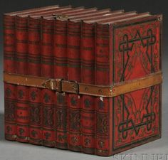Huntley & Palmers biscuit tin shaped like books, England, late 19th to early 20th century
