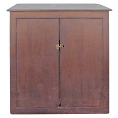 19th Century Wall Cabinet in Original Painted Brown Surface 1