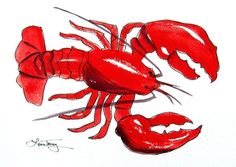 Red Lobster art prints for sale by Laura Trevey. Nautical home decor. Beach home decor and coastal gifts. Beach and Ocean Art. Live Maine Lobster, Lobster Art, Red Lobster, Lobster Boil, Watercolor Print, Watercolor Paintings, Original Paintings, Watercolors, Navy