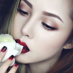 beauty, makeup, red, style, ulzzang, park hyemin