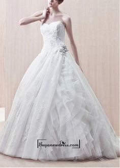 Attractive Organza & Satin & Tulle Ball Gown Strapless Sweetheart With Lace Appliques Wedding Dress Bridal Dresses Online, 2015 Wedding Dresses, Cheap Wedding Dress, Wedding Dress Styles, Bridal Gowns, Tulle Wedding, Gown Wedding, Bridesmaid Dresses, Prom Dresses
