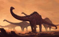 Diplodocus roaming across the land, Napon Suzuki Prehistoric Wildlife, Prehistoric Dinosaurs, Prehistoric World, Prehistoric Creatures, Dinosaur Images, Dinosaur Art, Dinosaur Drawing, Dinosaure Herbivore, Jurassic World Wallpaper