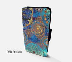 VINTAGE Case For Samsung Galaxy S7 Edge Wallet Case by LemurCases