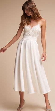 Graceful Lace   Acetate Satin Spaghetti Straps Neckline A-line Tea-length Wedding  Dress f1065011734f