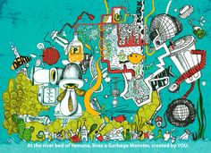 The illustration that won the first prize in KFC bucket design competition. #illustration #Recycle #design #deepikah