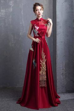 Red A-Line Floor Length Qipao / Cheongsam Wedding Dress with Embroidery - CozyLa. - - Red A-Line Floor Length Qipao / Cheongsam Wedding Dress with Embroidery - CozyLadyWear 2019 New Collection Models Ladies-Receive New and Up-to-Date Ne. Asian Wedding Dress, Red Wedding Dresses, Prom Dresses, Asian Prom Dress, Wedding Dress With Red, Chinese Wedding Dresses, Wedding Chinese, Asian Style Dress, Sheath Dresses