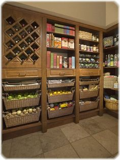My dream pantry! My dream pantry! My dream pantry! Kitchen Pantry Storage, Kitchen Pantry Design, Kitchen Pantry Cabinets, Kitchen Organization, Organizing, Wine Storage, Pantry Baskets, Produce Baskets, Food Storage