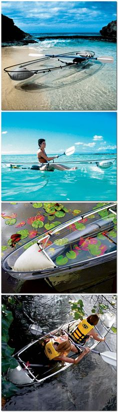The transparent canoe-kayak. This canoe-kayak hybrid has a transparent polymer hull that offers paddlers an underwater vista unavailable in conventional boats.