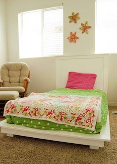 "16 Gorgeous DIY Bed frames • Tutorials, including this ""DIY girls' bed"" from 'Caldwell Couple'!"