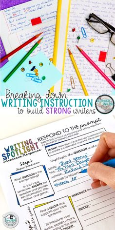 Teaching writing to students can be a daunting task. The key is to break down the instruction into small manageable steps to build strong writers. High School Writing, 5th Grade Writing, Writing Classes, Middle School Ela, Writing Lessons, Teaching Writing, Student Teaching, Writing Skills, Writing Activities