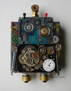 Art under 100 - Beep Boop Bot - Recycled Assemblage - Found Object Art Found Object Art, Found Art, Altered Boxes, Assemblage Art, Displaying Collections, Recycled Art, Mixed Media Art, Original Artwork, Recycling