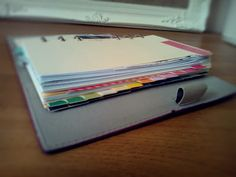 I've decided rather than sticking to a colour scheme for my Filofax, I would use all different colours throughout. The first step was using Masking Tape Stickers to label my A-Z tabs - these would be my sections. I have used two sets of A-Z dividers (yes, that's 26 in total!) and assigned sections to them.   Here is the contents in my Domino, so I can easily see which colour represents which section: