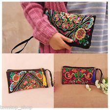 Women Ethnic Handmade Embroidered Wristlet Clutch Bag Vintage Purse Wallet Boho