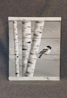 Metallic Birch Trees Wall Art 4x4 Birch Plank And