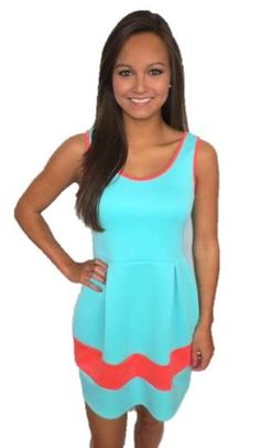 Teal A-line Dress w/ Coral Stripe #sbcfavorites @Shopbella C